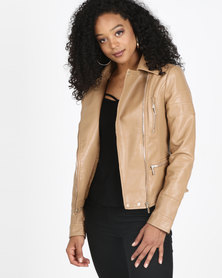 Sissy Boy PU Biker Jacket Tan