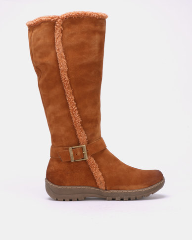 Grasshoppers Corina Leather Long Boots Tan