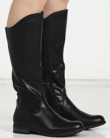 Utopia Knee High Flat Boots Black