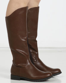 Utopia Knee High Flat Boots Brown