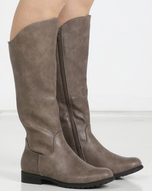Utopia Knee High Flat Boots Taupe