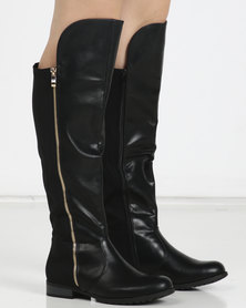 Utopia Side Zip Knee High Boots Black