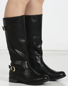 Utopia Double Buckle Knee High Boots Black