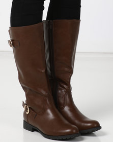Utopia Double Buckle Knee High Boot Brown