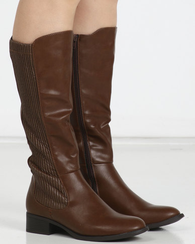 Utopia Gusset Rider Boots Brown