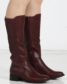 Utopia Gusset Rider Boots BUrgundy