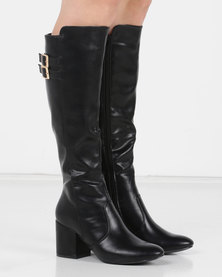 Utopia Buckle Trim Knee High Boots Black