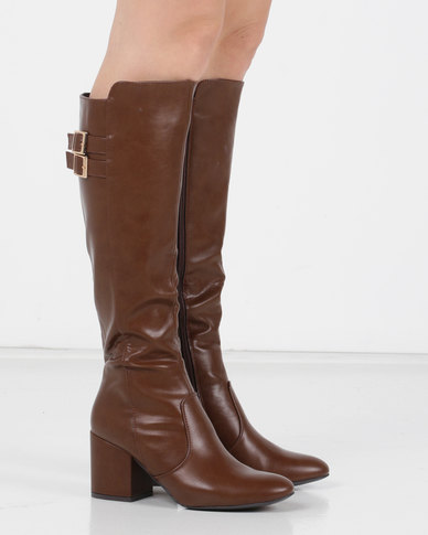 Utopia Buckle Trim Knee High Boots Brown