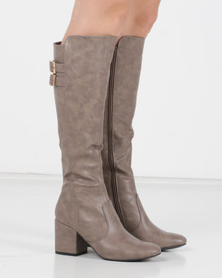 Utopia Buckle Trim Knee High Boots Neutrals