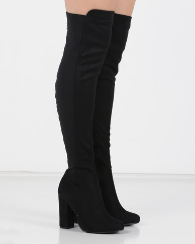 Utopia Long Mocc Suede Boots Black