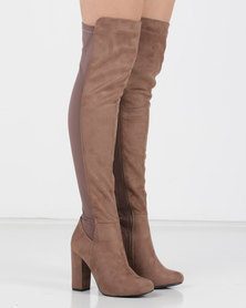 Utopia Long Mocc Suede Boots Brown