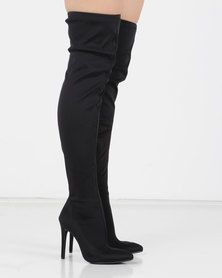 Utopia OTK Heeled Boots Black