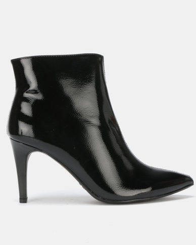 Utopia Patent Pointy Boots Black