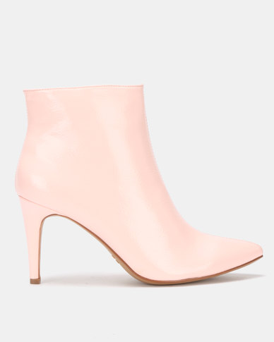 Utopia Patent Pointy Boots Pink