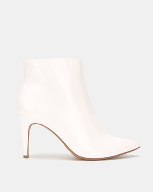 Utopia Patent Pointy Boots White