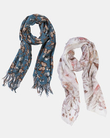 Razberry 2-pack scarf set: Teal Butterfly print + Pretty floral