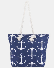 Razberry Navy Anchor Print Bag with Rope Trim