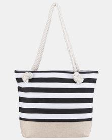 Razberry Black and white Stripe Bag with Rope Trim