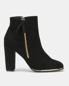 Utopia Zip Ankle Boots Black