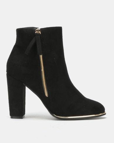 Utopia Zip Ankle Boots Black