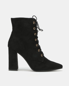 Utopia Mocc Suede Lace Up Boots Black