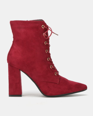 Utopia Mocc Suede Lace Up Boots Red