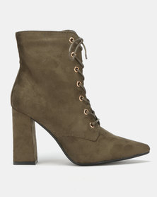 Utopia Mocc Suede Lace Up Boots Green