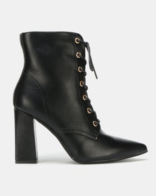 Utopia PU Lace Up Boots Black