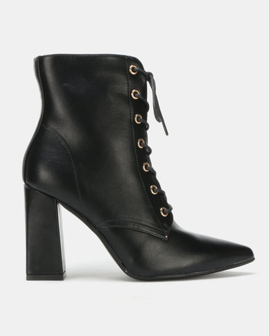 Utopia PU Lace Up Boots Black
