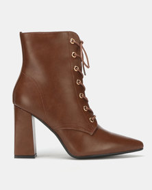 Utopia PU Lace Up Boots Brown