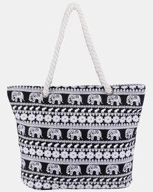 Razberry Black Elephant Print Bag with Rope Trim