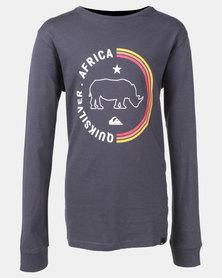Quiksilver Boys The Rhino Long Sleeve T-Shirt Blue