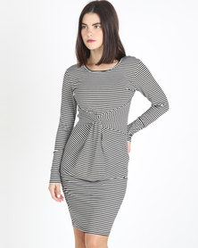 Utopia Stripe Knit Dress Black/White