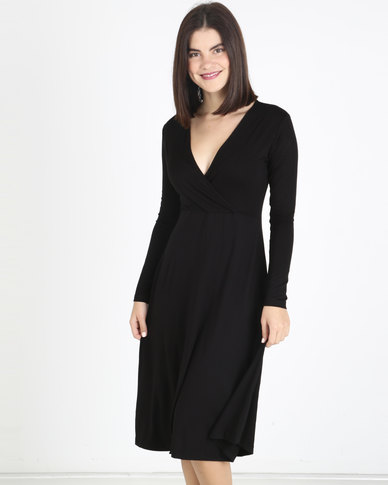 Utopia Knit Midi Dress Black