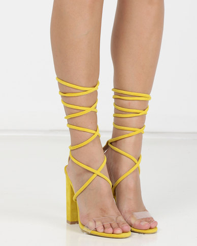 Silva Lux HALLE Yellow Lace-up Suede Block Heel