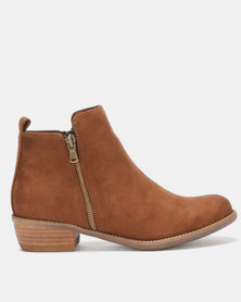 Utopia Double Zip Boots Brown