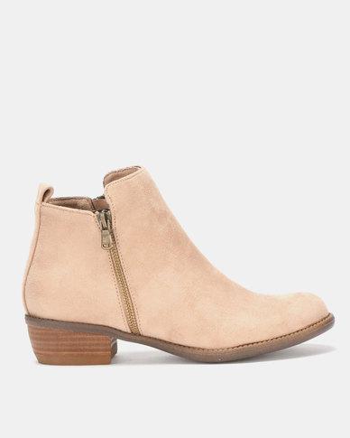 Utopia Double Zip Boots Neutrals