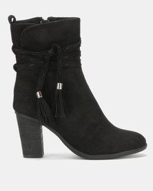 Utopia Stack Heel Boots Black