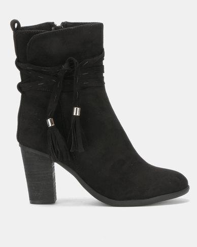 Utopia Stack Heel Boots Black