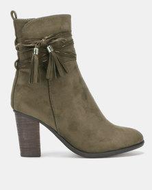 Utopia Stack Heel Boots Neutrals