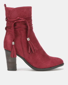 Utopia Stack Heel Boots Red-Purple