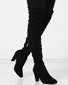 Utopia Over The Knee Heeled Boot Black