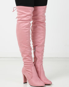 Utopia Over The Knee Heeled Boot Pink