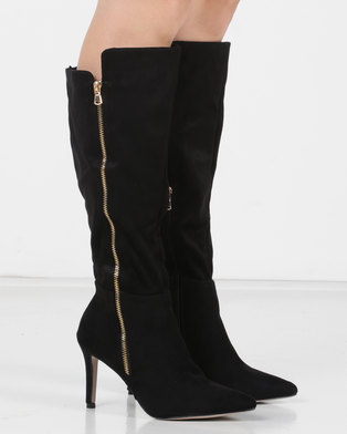 Utopia Pointy Knee High Boots Black
