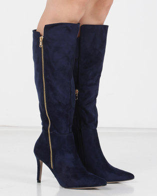 Utopia Pointy Knee High Boots Blue