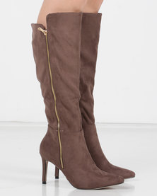 Utopia Pointy Knee High Boots Neutrals