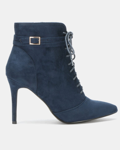 Utopia Lace Up Pointy Boots Blue