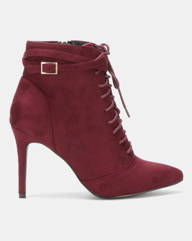 Utopia Lace Up Pointy Boot Red-Purple