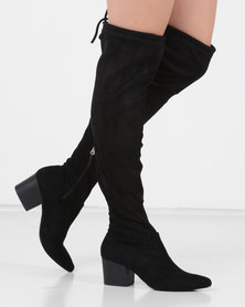 Utopia OTK Block Heel Boots Black
