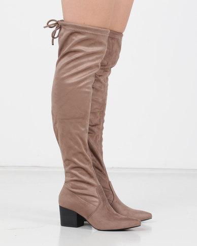 Utopia OTK Block Heel Boots Neutrals